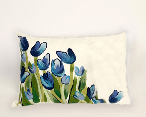 Trans-Ocean Import Co., Inc. - Visions II Allover Tulips Blue Pillow - 7SB1S413403