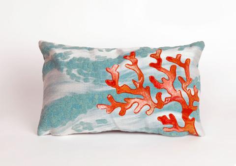 Trans-Ocean Import Co., Inc. - Visions III Coral Wave Aqua Pillow - 7SC1S415804