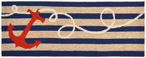Trans-Ocean Import Co., Inc. - Frontporch Anchor Navy 2x8 Rug - FTPR6140033
