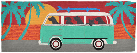 Trans-Ocean Import Co., Inc. - Frontporch Beach Trip Turquoise 2x8 Rug - FTPR6147504