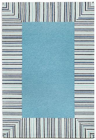 Trans-Ocean Import Co., Inc. - Ravella Pin Stripe Border Blue 5x8 Rug - RVL57225403