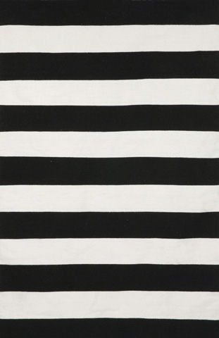 Trans-Ocean Import Co., Inc. - Sorrento Rugby Stripe Black 5x8 Rug - SRN57630248
