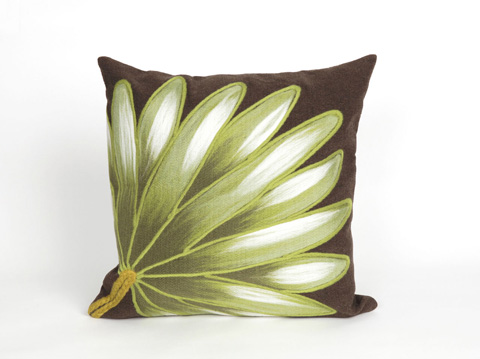 Trans-Ocean Import Co., Inc. - Visions II Palm Fan Chocolate Throw Pillow - 7SB2S416819