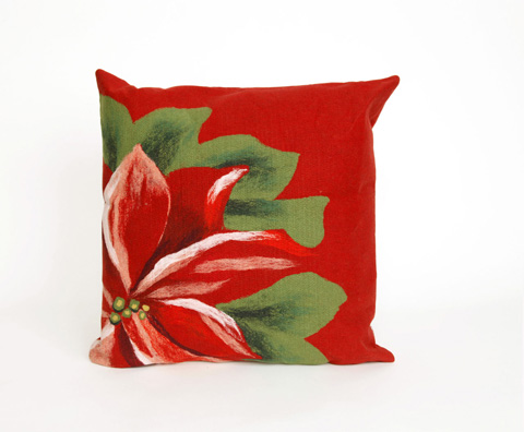 Trans-Ocean Import Co., Inc. - Visions II Poinsettia Red Throw Pillow - 7SB2S420524