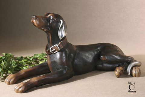 Uttermost Company - Resting Dog Aged Black Statue - 19070