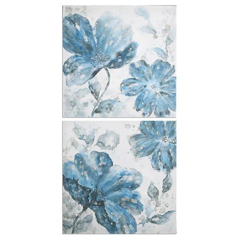 Uttermost Company - Blue Tone Flowers Art - 34306
