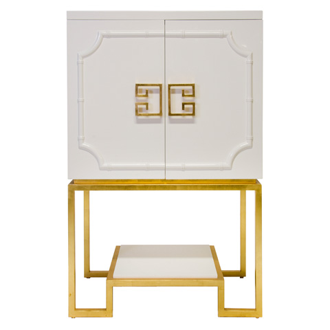 Worlds Away - White Lacquer Bar Cabinet - ANNA WH
