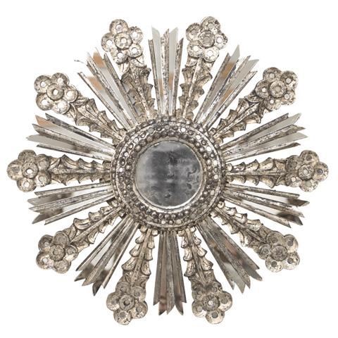 Worlds Away - Champagne Silver Leaf Starburst Mirror - BELLA S