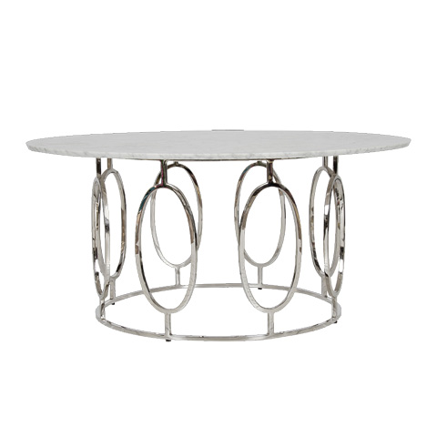 Worlds Away - Nickel Plated Ovals Coffee Table - CALEB NW