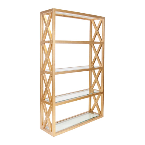 Worlds Away - Gold Leaf Crosshatch Etagere - CLIFTON G
