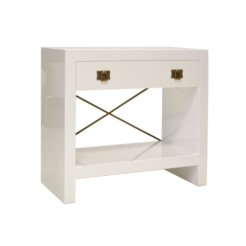 Worlds Away - Dalton White Lacquer One Drawer Nightstand - DALTON WH