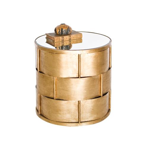 Worlds Away - Basketweave Side Table in Gold Leaf - DAVIS G