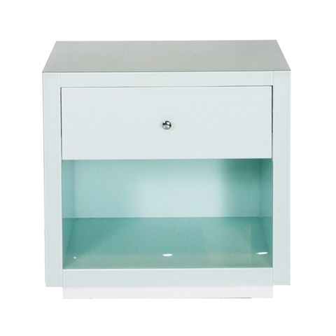 Worlds Away - Ice Glass One Drawer Nightstand - FARRAH ICE