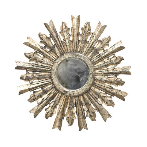 Worlds Away - Handcarved Starburst Mirror in Silver Leaf - GOYA S