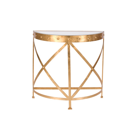 Worlds Away - Half Round Studded Gold Leaf Console - GROVE G