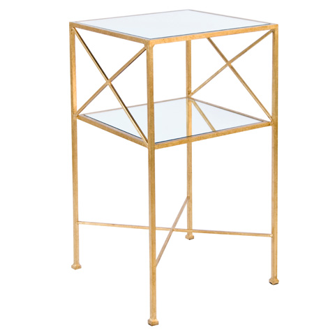 Worlds Away - Gold Leaf Square Two Tier Table - HENRI G