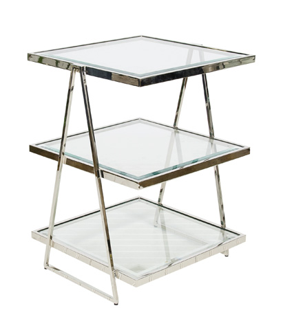 Worlds Away - Three Tier Nickel Plated Table - JARMON N