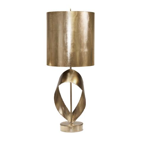 Worlds Away - Silver Leaf Brutalist Ribbon Lamp - JENNINGS S