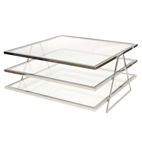 Worlds Away - Three Tier Nickel Plated Coffee Table - JONATHAN N
