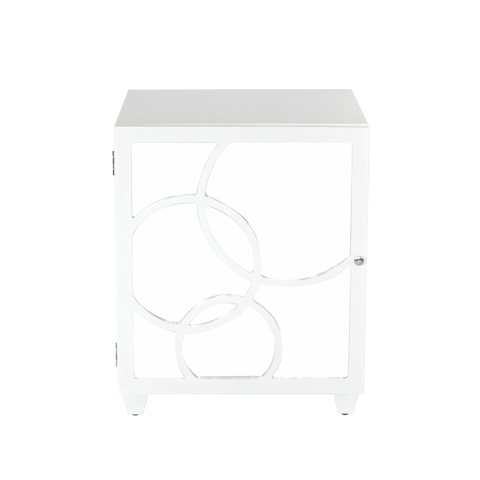 Worlds Away - Left Opening White Lacquer Nightstand - LEAH NWHL