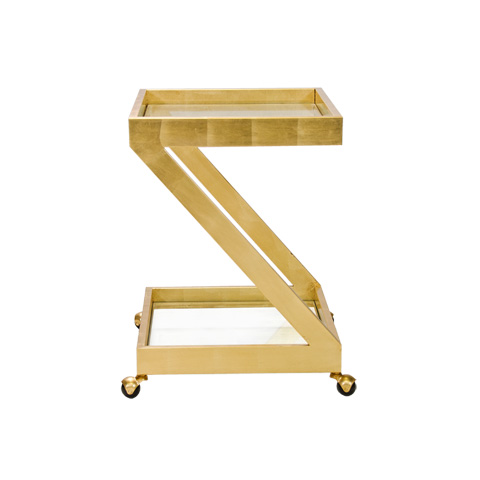 Worlds Away - Gold Leaf Bar Cart - LENOX G