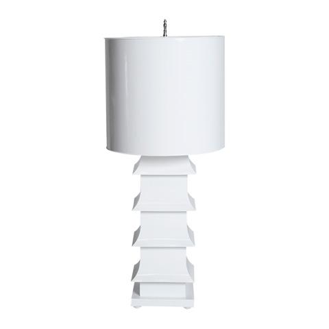 Worlds Away - White Pagoda Lamp - LMPHL-WH