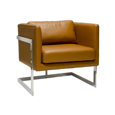 Worlds Away - Caramel Faux Leather Chair - MACALLAN CARSS