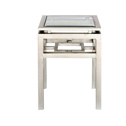 Worlds Away - Two Tier Silver Leaf Square Table - MAYNARD S