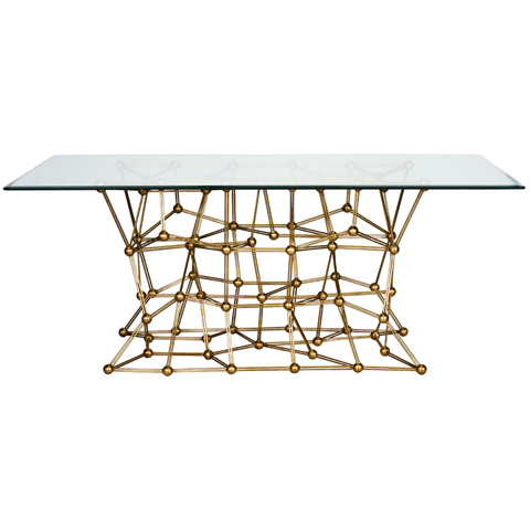 Worlds Away - Gold Leaf Iron Dining Table - MOLECULE DING72