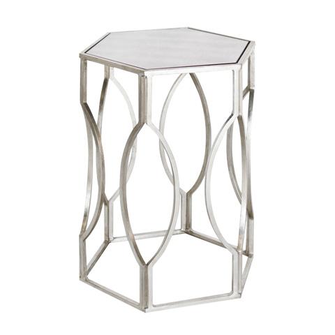 Worlds Away - Hexagonal Silver Leaf Side Table - MORROCO S