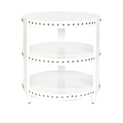 Worlds Away - White Lacquer Side Table - NORA WH