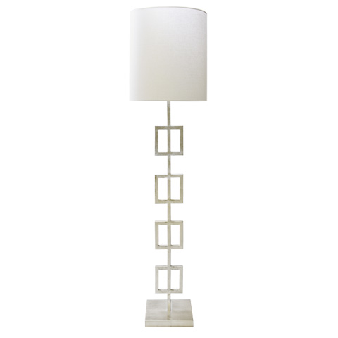 Worlds Away - Silver Leaf Squares Floor Lamp - QUINN S