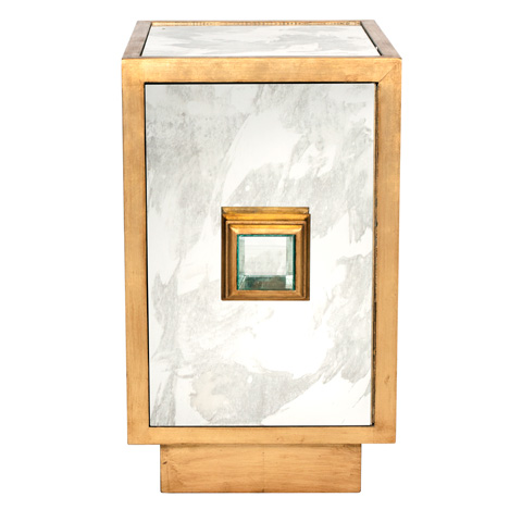 Worlds Away - Gold Leaf Side Table Cabinet - SAVANNAH G