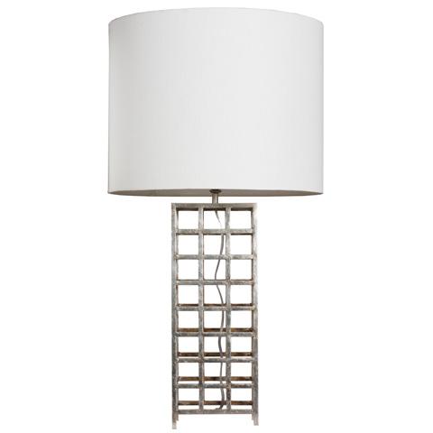 Worlds Away - Silver Leaf Iron Grid Lamp - SAWYER S