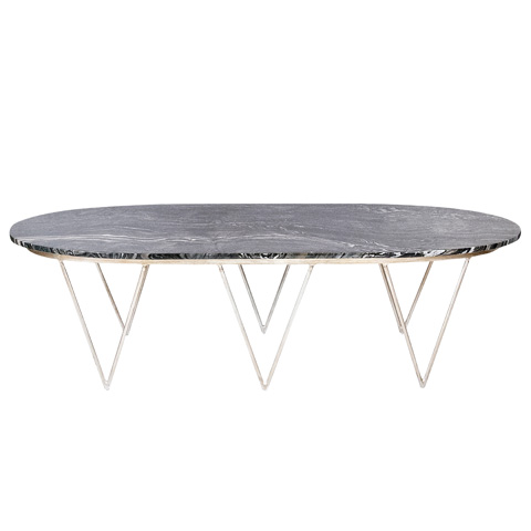 Worlds Away - Oval Silver Leaf Coffee Table - SURF SB