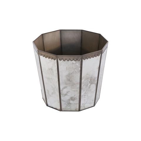 Worlds Away - Antique Mirror Hexagonal Wastebasket - WB252