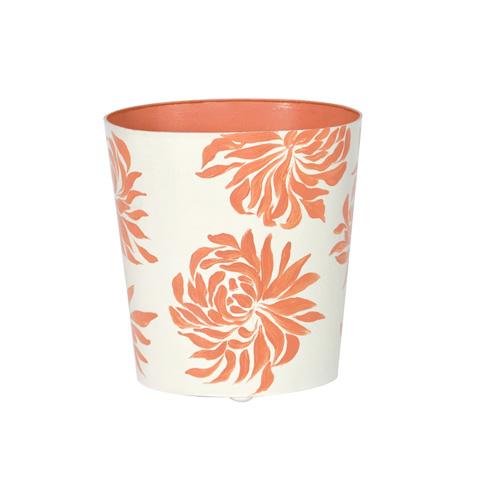 Worlds Away - Orange Floral Wastebasket - WBDAHLIAOR