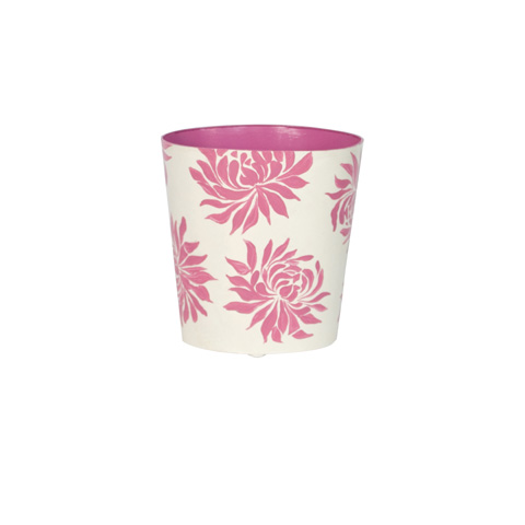 Worlds Away - Pink Floral Wastebasket - WBDAHLIAP