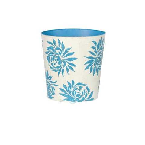 Worlds Away - Turquoise Floral Wastebasket - WBDAHLIATU