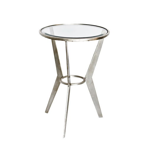Worlds Away - Mid Century Silver Leaf Side Table - WILMA S