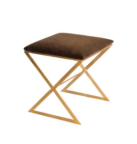 Worlds Away - Gold Leaf Side Stool with Brown Cushion - X SIDE GU