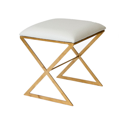 Worlds Away - Gold Leaf Side Stool with White Cushion - X SIDE GUO