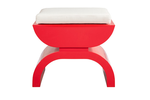 Worlds Away - Red Lacquer Stool - BIGGS RD