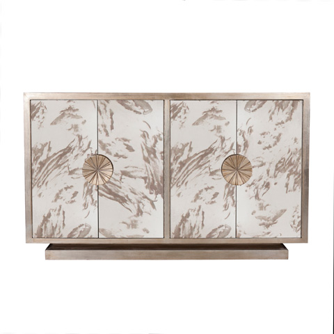 Worlds Away - Silver Leaf and Antique Mirror Cabinet - CALYPSO S