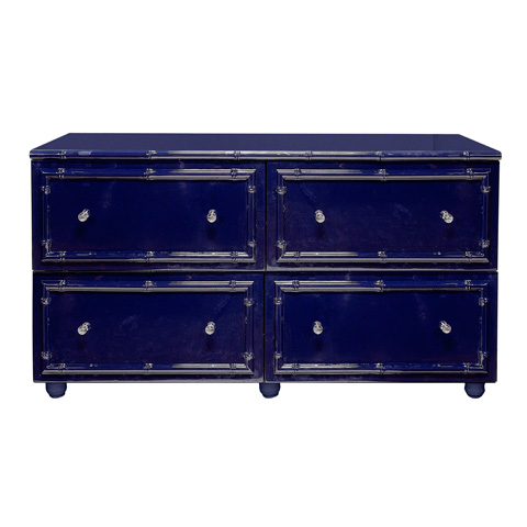 Worlds Away - 4 Drawer Navy Lacquer Bamboo Dresser - EMMA NVY