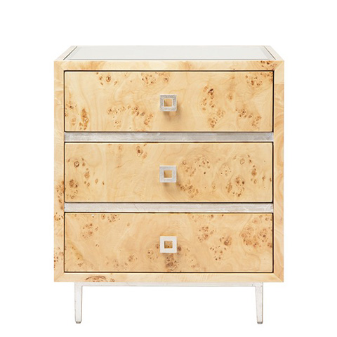 Worlds Away - 3 Drawer Burl Wood Side Table - HYDE BWS