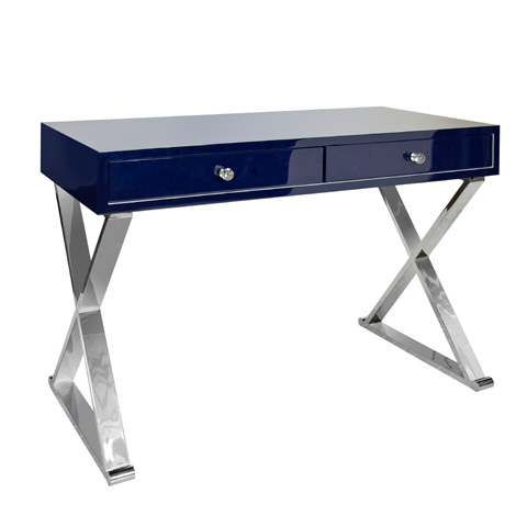 Worlds Away - Navy Lacquer Desk - JARED NVYSS