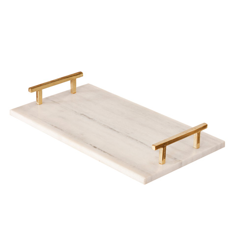 Worlds Away - White Marble Tray - LINCOLN BR