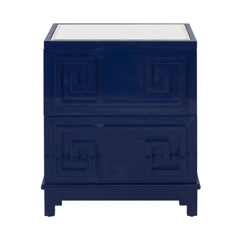 Worlds Away - Navy Lacquer Oriental 2 Drawer Chest - PAGODA NVY