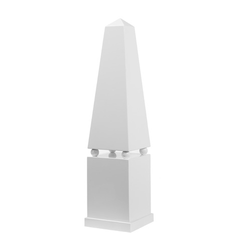 Worlds Away - Small White Lacquer Obelisk - ATHENS WH